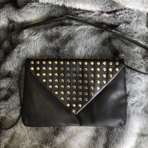 Black Clutch With Gold Accents